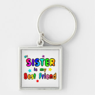 Sister Best Friend Silver-Colored Square Keychain