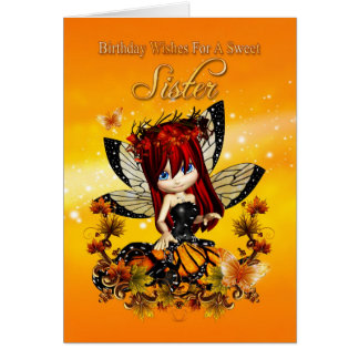 sister birthday card - birthday autumn color fairy