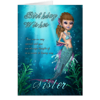 Sister Birthday Card With Cute Mermaid