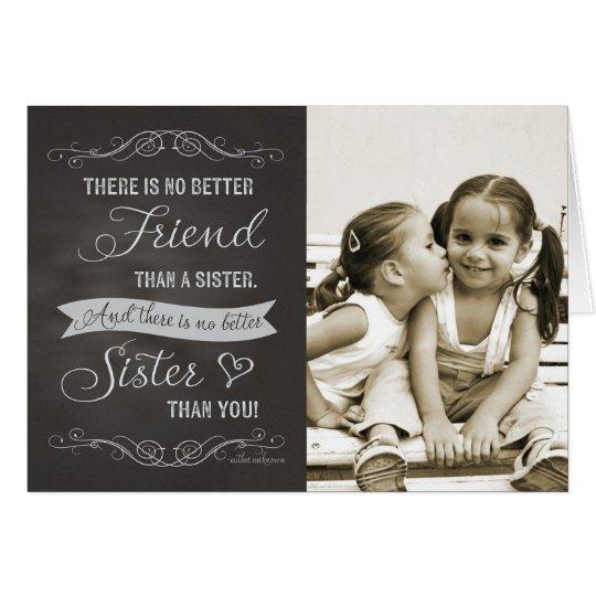 Sister Birthday - Chalkboard custom photo Card