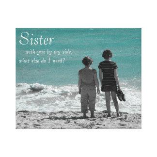 Sister By My Side Beach Scene Canvas Print