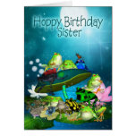 Sister Card With Fantasy Frogs - Hoppy Birthday