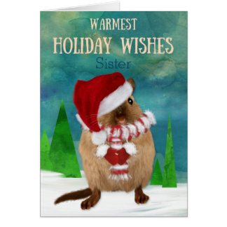 Sister Christmas Gerbil Santa Hat in Winter Scene Card