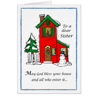 Sister God Bless House Christmas Card