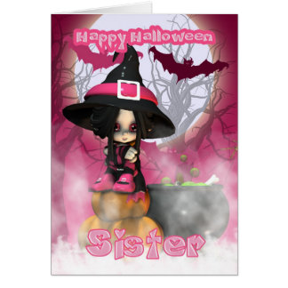 Sister Halloween with Girlie Witch in pinks Card