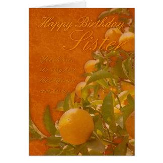 Sister Happy Birthday Spanish Orange Tree, burnt o Greeting Card