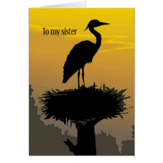 Sister, Heron Just a Note Card
