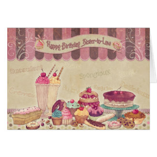 Sister in Law - Birthday Card - Cakes And sweets