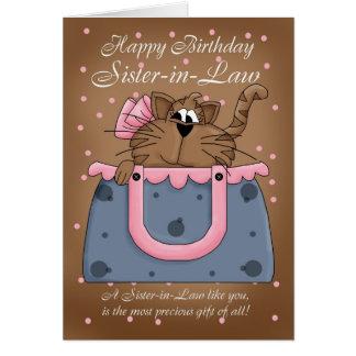 Sister-in-Law Birthday Card - Cute Cat Purse Pet