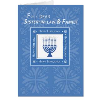 Sister-in-Law & Family Hanukkah Wishes Blue Menora Card