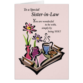 Sister-in-Law Mother's Day, Breakfast in Bed, Pink Card