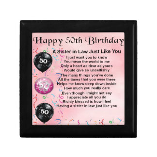 Sister in Law Poem - 50th Birthday Gift Box