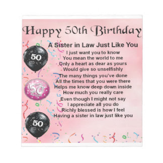 Sister in Law Poem - 50th Birthday Notepad