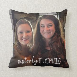 Sister Love Photo Hand Lettered Trendy Modern Throw Pillow