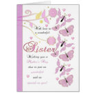 Sister Mother's Day Card With Flowers And Butterfl
