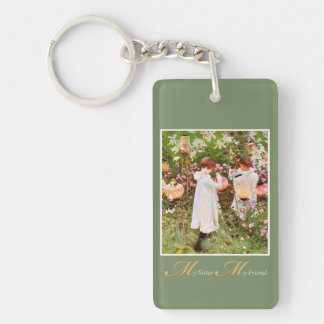 Sister, Mother's Day, Girls in Flower Garden, Gift Double-Sided Rectangular Acrylic Keychain