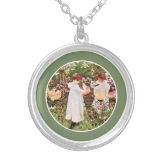 Sister, Mother's Day, Girls in Flower Garden, Gift Silver Plated Necklace