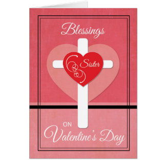 Sister, Nun Valentine's Day Blessings Heart Card