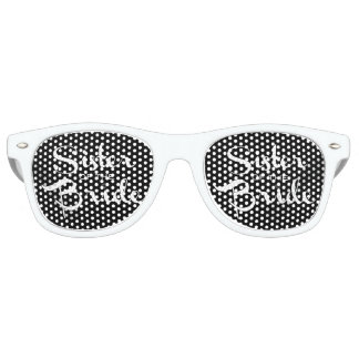 Sister of Bride White on Black Party Sunglasses