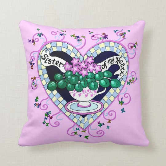 Sister of my Heart Best Friend Personalized Pillow