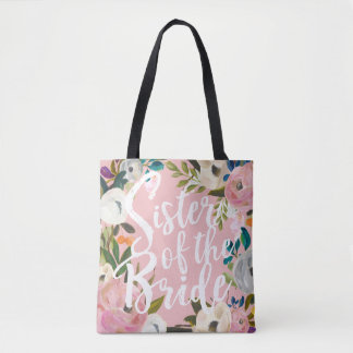 Sister of the Bride Brushed Floral Wedding Pink Tote Bag