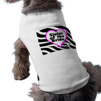 Sister of the Bride (Heart Zebra Stripes) Dog T-shirt