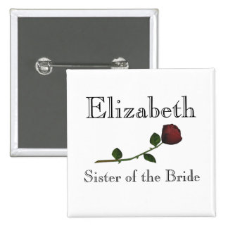 """Sister of the Bride"" - Red Long Stemmed Rose [a] 2 Inch Square Button"