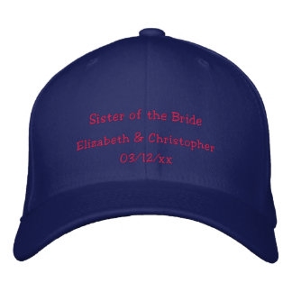 """Sister of the Bride"" w/ Couple's Names Embroidered Hat"