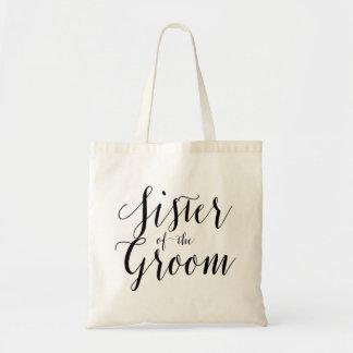 Sister of the groom wedding tote bag