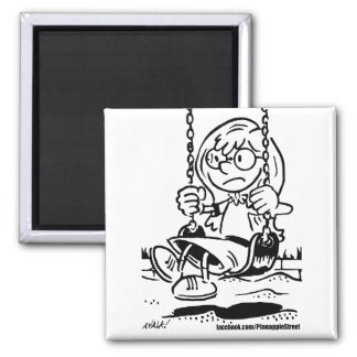 Sister on the Swing Square Magnet