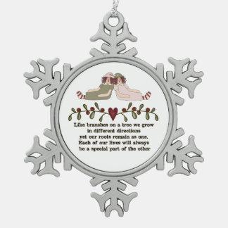 Sister Poem Holiday Christmas Snowflake ornament