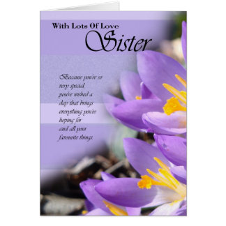 Sister purple crocus Birthday Card