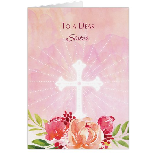 Sister Religious Easter Blessings Watercolor Look Card