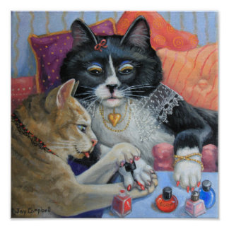 """""""Sister Stuff"""" kitty sisters do their nails Poster"""