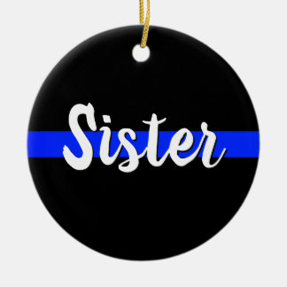 Sister Thin Blue Line Ornament Christmas LEO