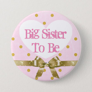 Sister to Be Pink and Gold Baby Shower Button