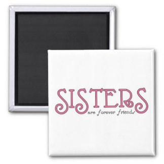 Sisters 3pink square magnet