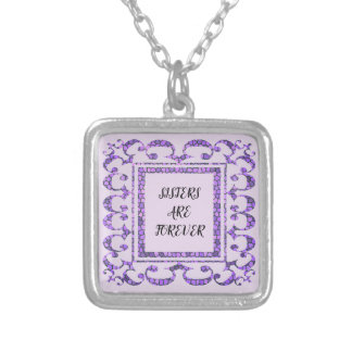 Sisters are Forever Mosaic Purple Lacy Frame Silver Plated Necklace