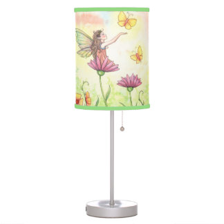 Sisters Cute Fairy Butterfly Ladybug Art Table Lamp