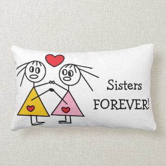Sisters FOREVER Cute Girl Stick Figures Design Lumbar Pillow