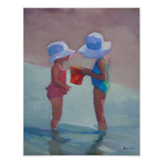 """""""Sisters in Sun Hats"""" - 14""""x11"""" POSTER"""
