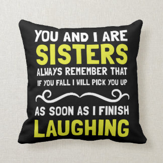 Sisters Laughing Throw Pillow