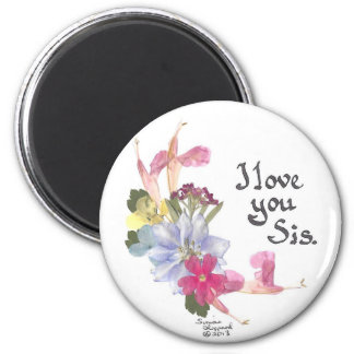 Sister's love 2 inch round magnet