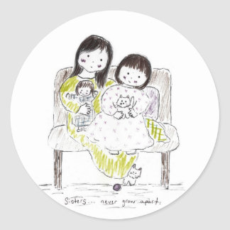 Sisters never grow apart classic round sticker