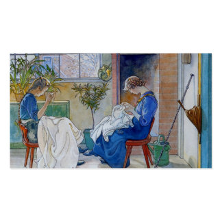 Sisters Sewing by the Fireplace Business Card
