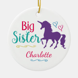Sisters Unicorn Big Sister Personalized Christmas Ceramic Ornament