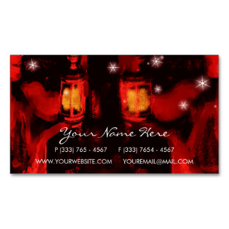 sisters with lamp business card magnet
