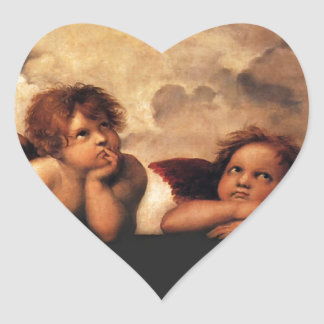 Sistine Madonna 2 Angels by Raphael Heart Sticker