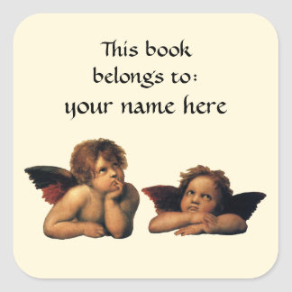 Sistine Madonna Angels by Raphael Bookplate Square Sticker
