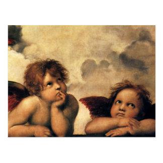 Sistine Madonna Angels by Raphael, Renaissance Art Postcard